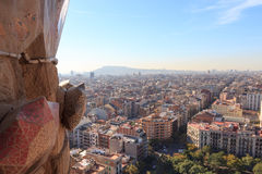 Barcelona cityscape and mountain Montjuic seen from Sagrada Familia tower Stock Image