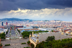 Barcelona cityscape from National Palace of Montjuic Royalty Free Stock Image