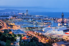 Barcelona Cityscape at Night. City of Barcelona at night in Catalonia, Spain royalty free stock images
