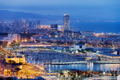 Barcelona Cityscape by Night Stock Image