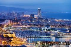 Barcelona Cityscape by Night Stock Image