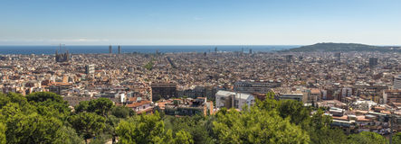 Barcelona cityscape at noon. Panoramic view of Barcelona as seen from Gaudi Park Stock Photos