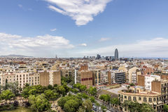 Barcelona cityscape with park Gaudi Royalty Free Stock Photography