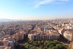 Barcelona cityscape seen from Sagrada Familia tower Royalty Free Stock Photo