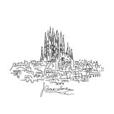 Barcelona cityscape, sketch for your design Stock Photography