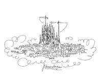 Barcelona cityscape, sketch for your design Stock Image