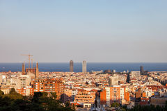 Barcelona Cityscape at Sunset Royalty Free Stock Photos