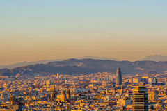 Barcelona cityscape at sunset overlook Royalty Free Stock Photos