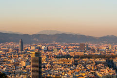 Barcelona cityscape at sunset overlook Royalty Free Stock Photography