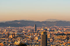 Barcelona cityscape at sunset overlook Stock Image