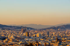 Barcelona cityscape at sunset overlook Stock Images