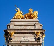 Barcelona ciudadela park Aurora golden quadriga Royalty Free Stock Image