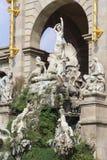 Barcelona ciudadela park lake fountain with golden quadriga of Aurora Stock Photo