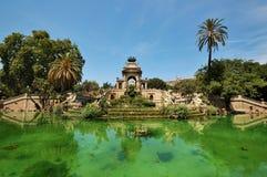 barcelona ciutadella de springbrunn laparc Arkivfoton