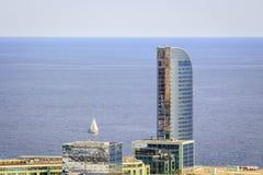 Barcelona coast nad sail boat, Spain Royalty Free Stock Image