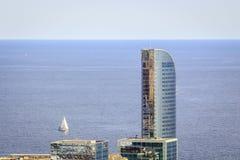 Barcelona coast nad sail boat, Spain Royalty Free Stock Photography