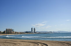 Barcelona coast view, raw. Barcelona skyline viewed from the beach, raw stock images