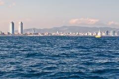 Barcelona coastline. Seen from the sea Royalty Free Stock Image