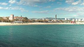 Barcelona Costa Brava Hiszpania Catalonya piękny seaview przy morzem śródziemnomorskim zdjęcie wideo