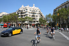 Barcelona cyclists Royalty Free Stock Images