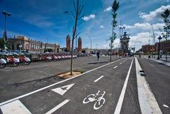 barcelona cykellane Fotografering för Bildbyråer
