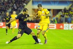 barcelona dämpar fcfotbollmatchen Royaltyfri Bild