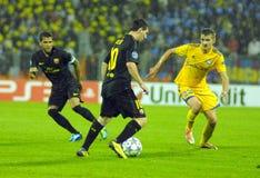 barcelona dämpar fcfotbollmatchen Fotografering för Bildbyråer