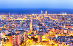 Barcelona at dawn Stock Images
