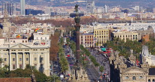 Barcelona day time columbus monument traffic street 4k spain stock video footage