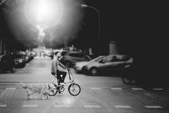 BARCELONA - 22 de mayo, cicles del hombre con su perro en la calle, el 22 de mayo de 2018 en Barcelona, España Fotografía de archivo