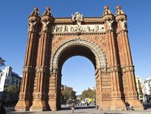 Arch of triumph, Barcelona. BARCELONA - DEC 5: Arch of Triumph in Lluis Company Avenue, in Barcelona Spain Royalty Free Stock Photography