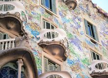 BARCELONA - DECEMBER 30 2015 : Casa Batllo on dECEMBER 30, 2015 in Barcelona, Spain. This famous building was designed by Antoni. Gaudi and is one of the most stock photo