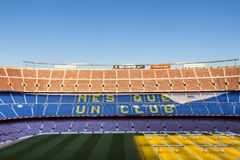 Inside Camp Nou - home stadium of FC Barcelona, largest stadium in Spain and Europe stock image