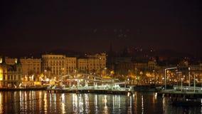 Barcelona del puerto Vell por mañana del verano almacen de metraje de vídeo