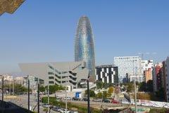 Barcelona det Agbar tornet i härlighetområdespanoramautsikt royaltyfria foton