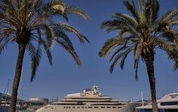 Barcelona drzewka palmowe i jacht łódź Fotografia Stock