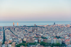 Barcelona in the dusk Stock Photography