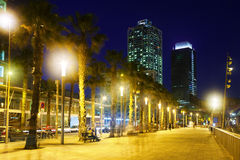 Barcelona embankment in night Stock Photography