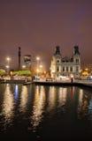 Barcelona en la noche del puerto Vell imagen de archivo libre de regalías