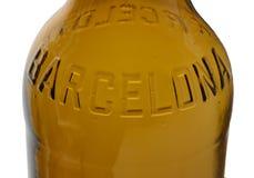Barcelona escrita na garrafa de cerveja Imagem de Stock Royalty Free