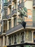 Barcelona, España, casa Bruno Quadros de la fachada en Pla de la Boqueri Imagen de archivo libre de regalías