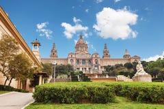 Barcelona, España - 22 de abril de 2016: Museo Nacional del arte, cuadrado de Placa De Espanya spanish foto de archivo
