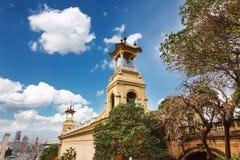 Barcelona, España - 22 de abril de 2016: Museo Nacional del arte, cuadrado de Placa De Espanya spanish fotografía de archivo libre de regalías