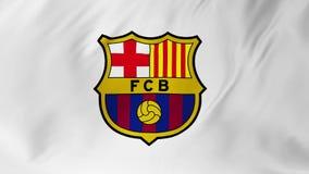 Barcelona, ESPAÑA - 7 de febrero de 2018: Bandera que agita con el club 2 del fútbol del FC Barcelona en 1 libre illustration