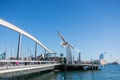 BARCELONA, ESPAÑA - 12 DE FEBRERO DE 2014: Una vista a un embarcadero con yates, un terraplén y una gaviota del vuelo en el puert Imágenes de archivo libres de regalías