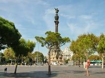 Barcelona, España - 14 de octubre de 2013 - Columbus Monument Imagenes de archivo