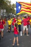 BARCELONA, ESPAÑA - SEPT. 11: Ingependence de manifestación de la gente encendido Fotografía de archivo libre de regalías