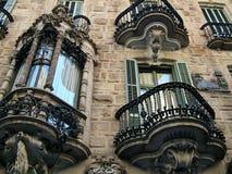 Barcelona, España -28 septiembre de 2015 - parte de la fachada de la casa Fotografía de archivo