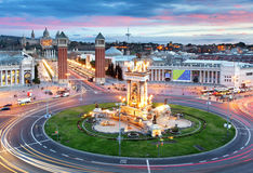 Barcelona - Espana fyrkant, Spanien arkivbild