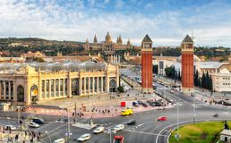 Barcelona, Espana square with MNAC, Spain Royalty Free Stock Images
